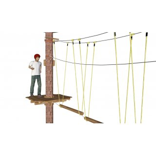 Longitudinal beam at upper wire ropes (incl. rope)